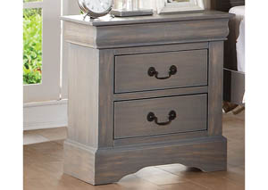 Louis Philippe III Antique Gray 2 Drawer Nightstand