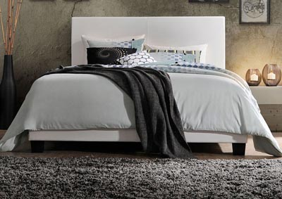 Lien White PU Queen Bed
