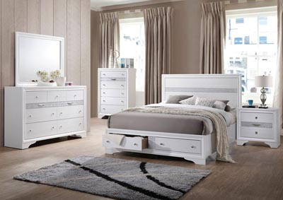 Naima White Eastern King Storage Bed w/Dresser and Mirror
