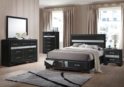 Naima Black Eastern King Storage Bed w/Dresser and Mirror