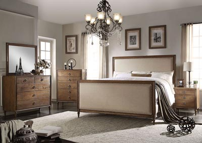 Inverness/Parker Gray Upholstered & Reclaimed Oak California King Panel Bed