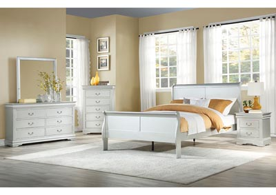 Louis Philippe Platinum Eastern King Sleigh Bed