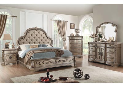 Northville Antique Champagne Upholstered Queen Bed