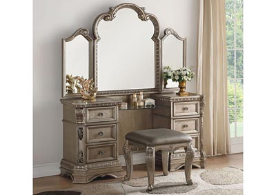 Image for Northville Antique Champagne Vanity Desk
