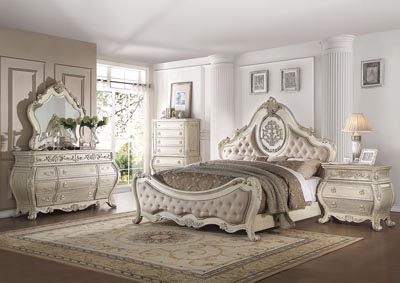 Image for Ragenardus Antique White Upholstered Queen Panel Bed w/Dresser and Mirror