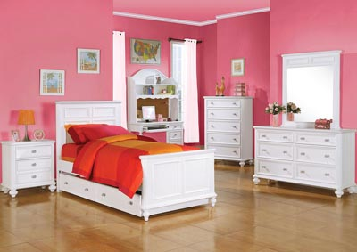 Athena White Twin Panel Bed w/Trundle