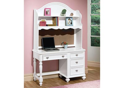 Athena White Computer Desk w/Hutch