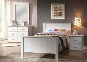 Bungalow White 2 Drawer Nightstand