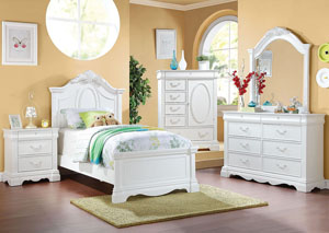 Image for Estrella White 3 Drawer Nightstand