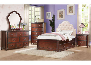 Image for Cecilie Pink/Cherry Twin Bed w/Trundle