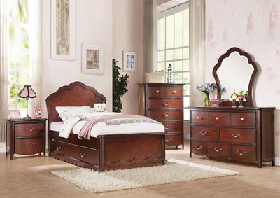 Cecilie Cherry Full Panel Bed Set w/Trundle