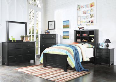 Image for Mallowsea Black 3 Drawer Nightstand
