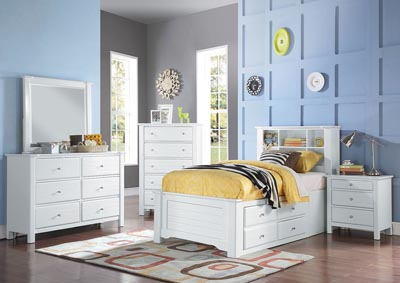 Image for Mallowsea White Twin Storage Bed