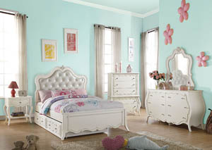 Edalene Pearl White Twin Bed w/Trundle