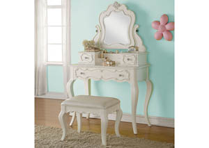 Edalene Pearl White Vanity and Mirror