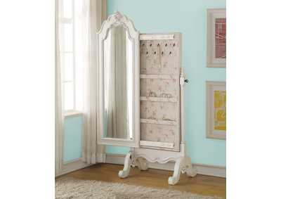 Edalene Pearl White Jewerly Armoire (Cheval)