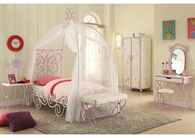 Priya II White/Purple Twin Canopy Bed