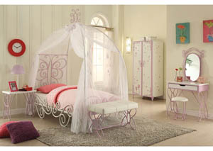 Priya II White & Light Purple Armoire
