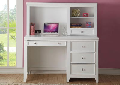 Lacey White Computer Desk w/Hutch