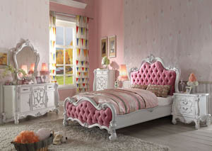 Versailles Antique White & Pink Queen Upholstered Bed