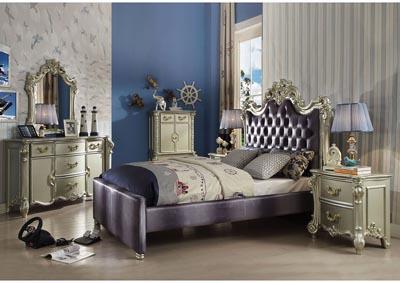 Vendome II Gray/Champagne Upholstered Queen Bed w/Dresser & Mirror