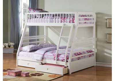 Image for Jason White Twin/Full Bunk Bed w/2 Drawers