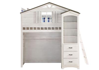 Tree House White/Gray Twin Loft Bed w/Bookcase