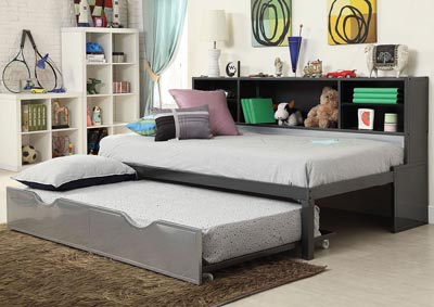 Renell Black/Silver Daybed Bed w/Trundle