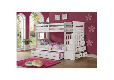 Allentown White Twin/Twin Bunk Bed w/Storage