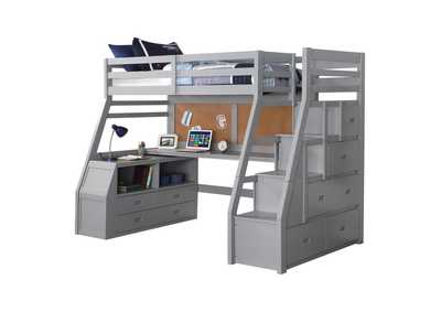 Jason II Gray Loft Bed & Ladder