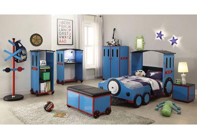 Image for Tobi Blue/Red & Black Train Twin Bed