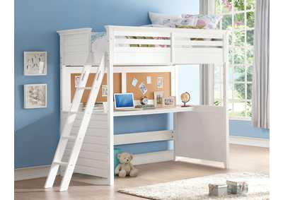 Lacey White Twin Loft Bed w/Desk