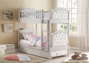 Pearlie Gray and Pearl White PU Twin/Twin Bunk Bed