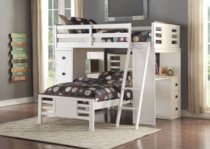 Florrie White and Espresso Twin Loft Bed w/Desk