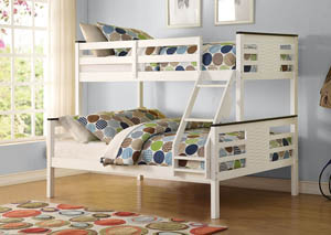 Florrie White and Espresso Twin/Full Bunk Bed
