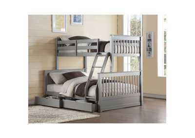 Haley II Gray Twin/Full Bunk Bed w/2 Drawers