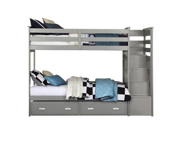 Allentown Gray Bunk Bed and Trundle (Twin/Twin and Storage)