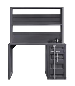 Cargo Gunmetal Desk and Hutch