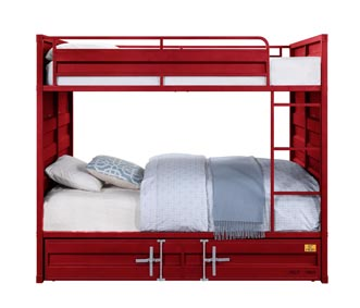 Image for Cargo Red Full/Full Bunk Bed (No Trundle)