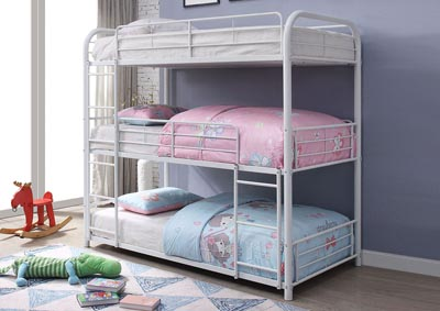 Cairo White Bunk Bed - Triple Full