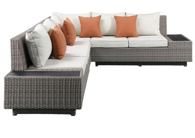 Salena Beige/Gray Patio Sectional & Cocktail Table