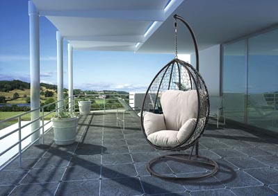 Simona Black Patio Swing Chair