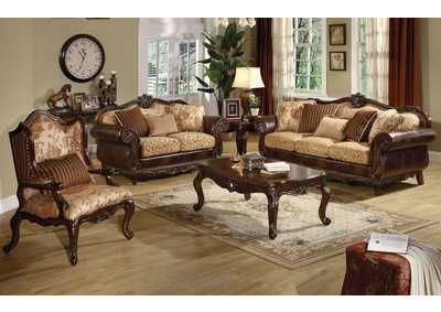 Remington Cherry Sofa and Loveseat w/8 Pillow