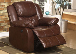 Fullerton Brown Bonded Leather Match Recliner (Power Motion)