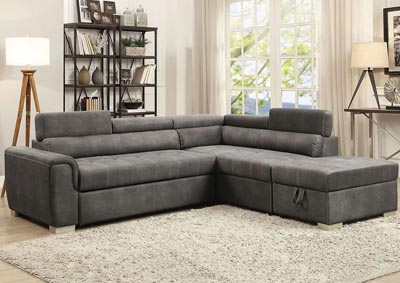 Thelma Gray Sectional Sleeper Sofa and Ottoman