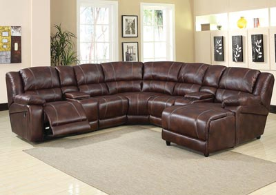 Zanthe Brown Sectional Reclining Sofa