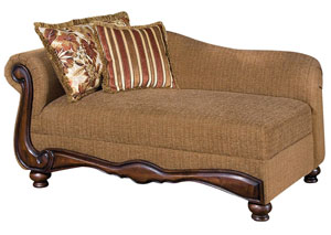 Olysseus Brown & Floral Fabric Chaise w/2 Pillows