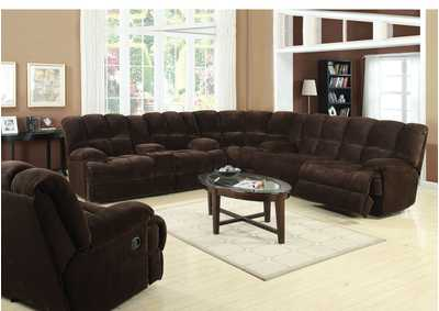 Ahearn Chocolate Champion Loveseat w/Console (Motion)