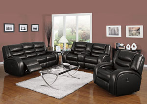 Dacy Black Bonded Leather Motion Sofa
