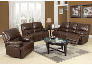 Daishiro Chestnut Bonded Leather Motion Sofa
